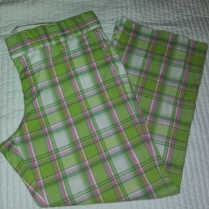 Juicy couture green plaid crop pants size 29